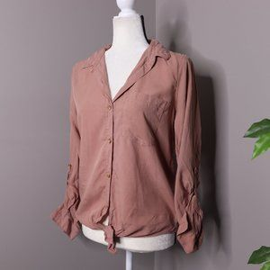 Thread & Supply Button Down Tie Front Blouse